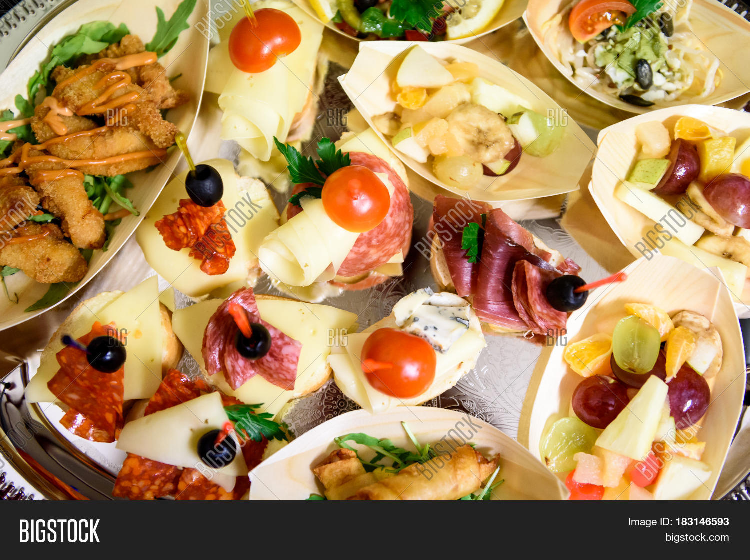 Home made canapes small sandwiches appetizers stock photo for Canape wraps