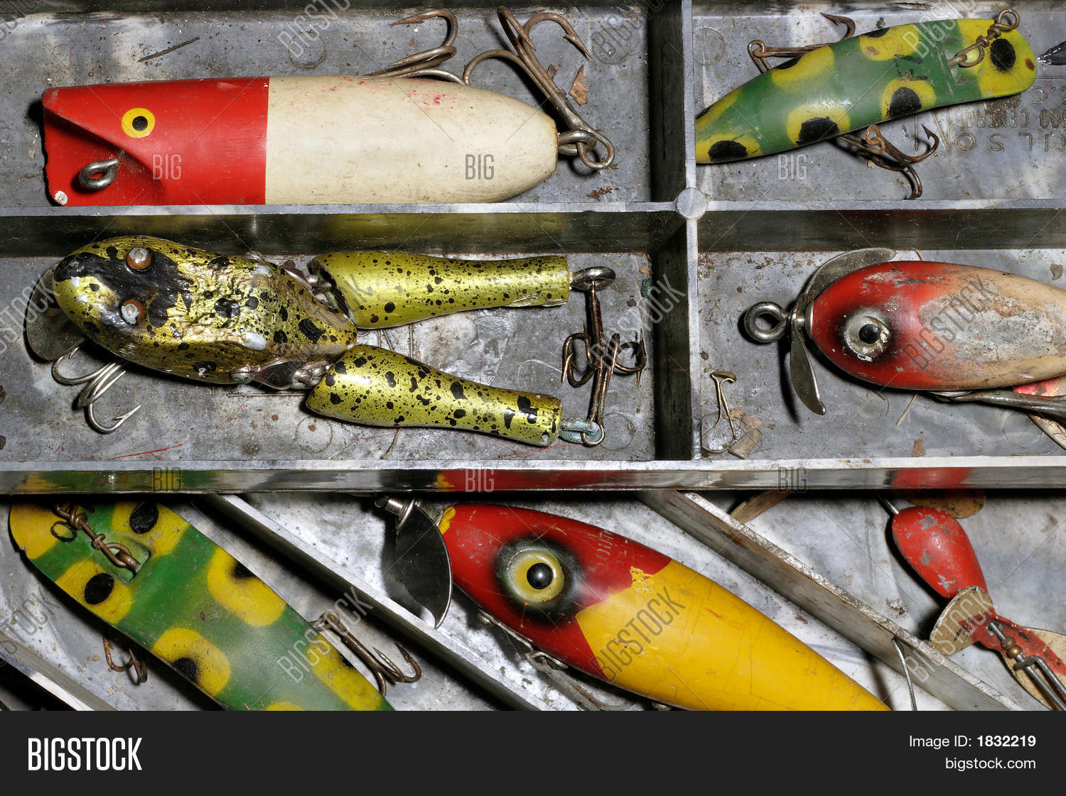 Antique fishing lures stock photo stock images bigstock for Vintage fishing rod identification