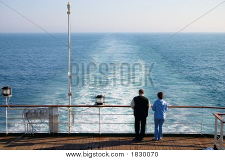 Couple Of Tourist On Cruise Liner