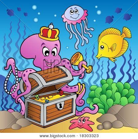 Cartoon octopus on treasure chest - vector illustration.