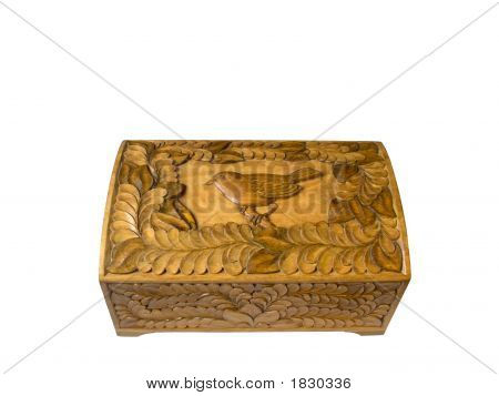 Wooden Casket With A Carved Ornament