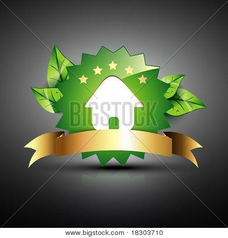 vector green house eco icon