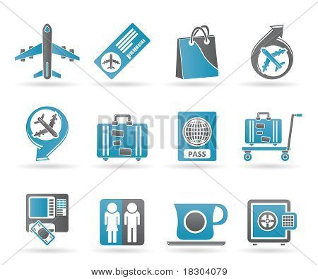 airport, travel and transportation icons 1