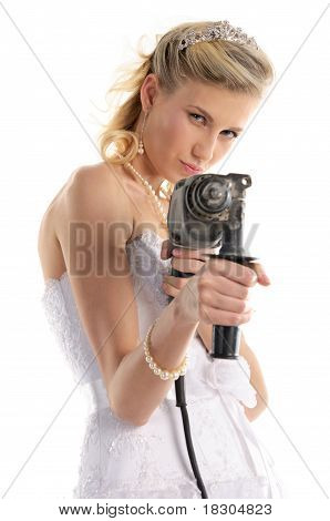 offended bride with drill