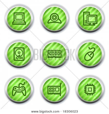 Computer web icons, green glossy circle buttons