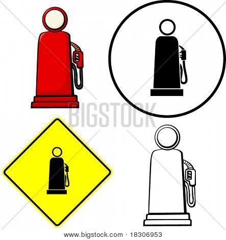 vintage gas pump illustration sign and symbol
