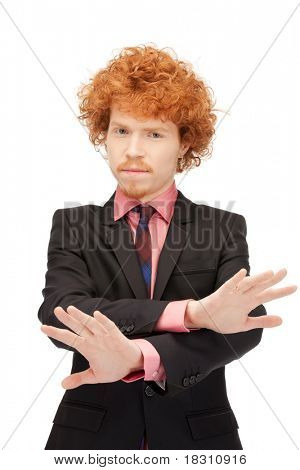 bright picture of young man making stop gesture