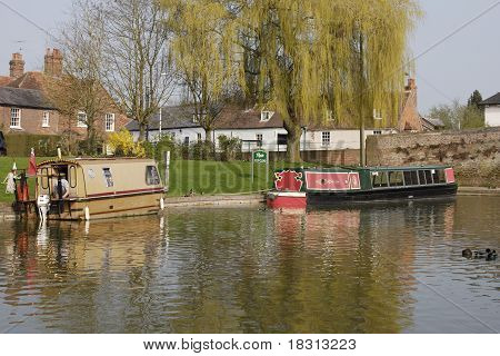 Narrowboats At Hungerford. UK
