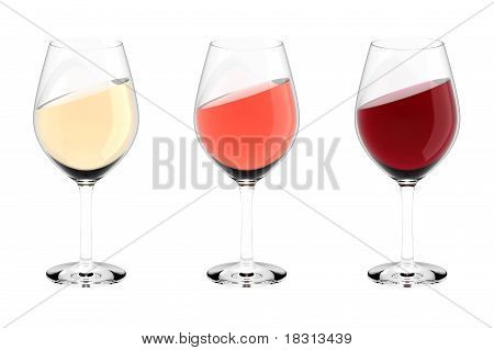 Wine glasses white rose red