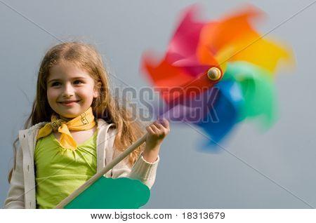 Pinwheel - girl with colored pinwheel