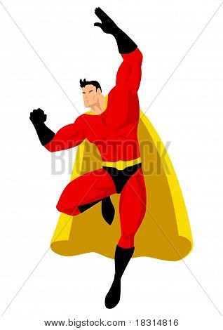 Superhero flying pose