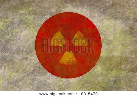 Dirty And Grunge Flag Of Japan With Nuclear Symbol Inside