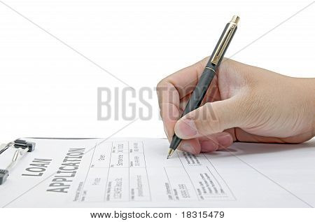 Male Hand Signing On Loan Application Contract On White