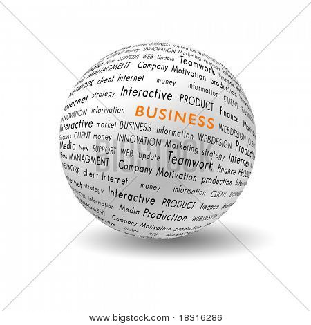 white ball with bussiness and financial terms written on it
