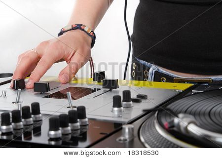Hands Of Female Dj On Mixing Controller