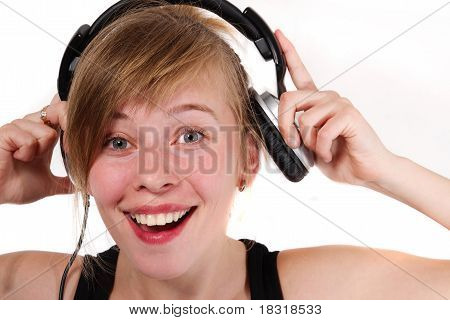Portrait Of A Girl In Headphones