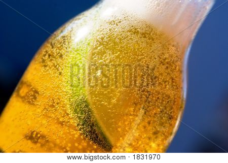 Lime In Beer Bottle