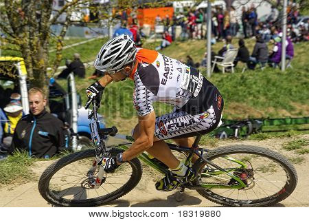 Muensingen, Germany - April 17, 2011 - MTB Bundesliga racing of Males Elite
