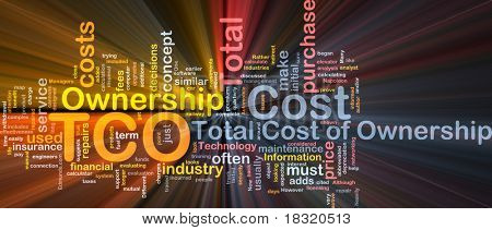 Background concept wordcloud illustration of total cost of ownership glowing light