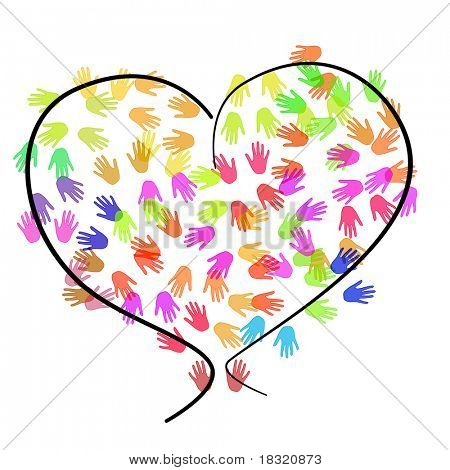 a heart drawn on a white background full of hands of different colors