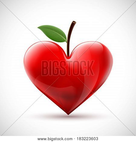 Red human heart with a leaf in the form of a berry. Stock vector illustration.
