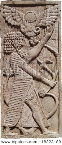 Ivory Plaque of Man with Winged Sun-Disk