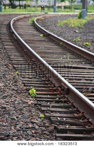 Railway track leading far onward