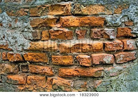 old wall of red brick