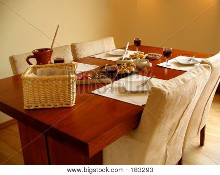 A Set Table With Spanish Tapas Served