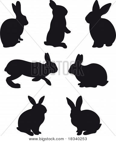 vector silhouettes hare and rabbit