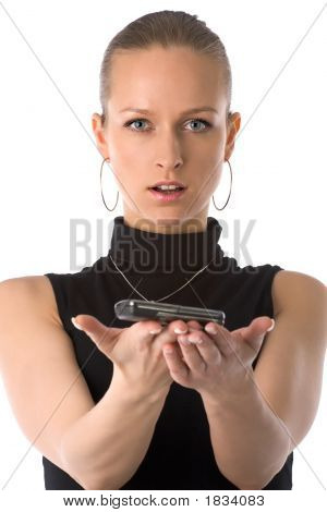 Girl Holding Mobile Phone