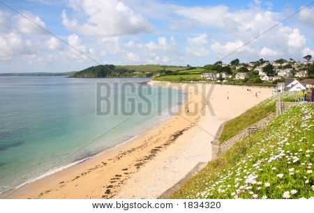 Gyllyngvase Beach In The Summer, Falmouth, Cornwall.