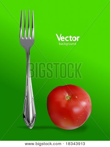 Photorealistic fresh tomato with fork. Vector