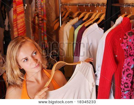 Women chooses clothes