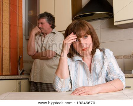 mature couple in quarrel