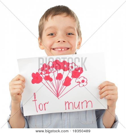 Child with drawing for mum isolated on white
