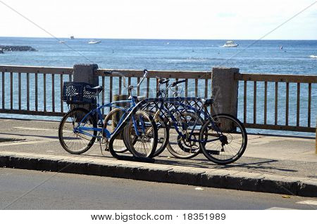 Cycles locked in a stand against a ocean background