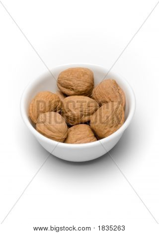 Bowl Of Walnuts On White Ii