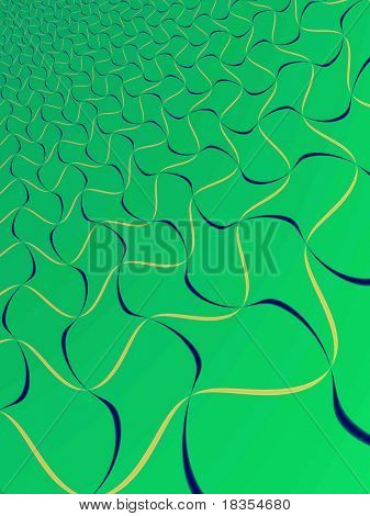 Fractal rendition of rubber bands on green background