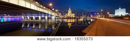 Night Moscow.  Moscow River. Hotel Ukraine And The House Of Government Of Russian Federation.