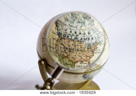 Focus On North America On A Globe