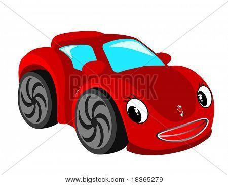 Red car. Raster image.