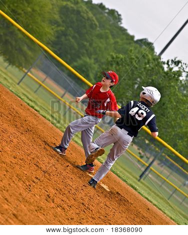 Youth Baseball Making Run To Base