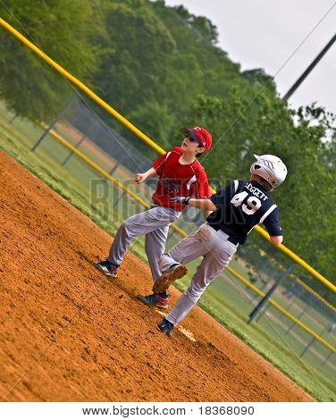 Youth Baseball Making Run To Base