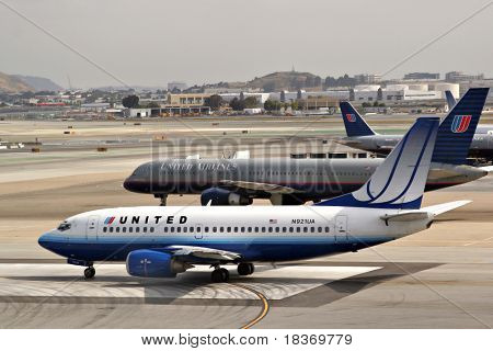 Jumbo Commercial Airliners at Runway