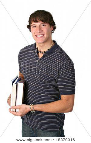 Smiling College Student Holding books Isolated
