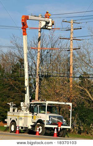 Electrical Worker Fixing Communication Line