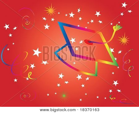 Graduation Hat on Red Background Vector