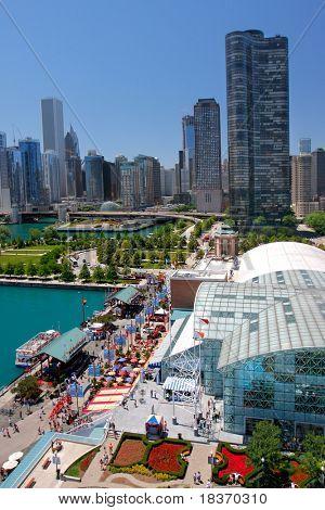 Chicago Navy Pier Aerial View in the Summer