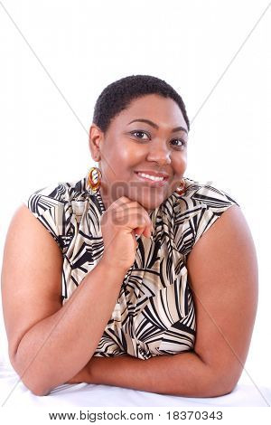 Smiling Young African American Woman Portrait on White Background